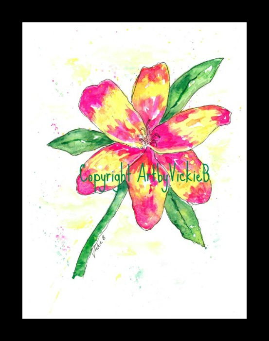 Bright Floral watercolor with pen & ink