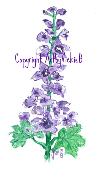 Delphinium watercolor