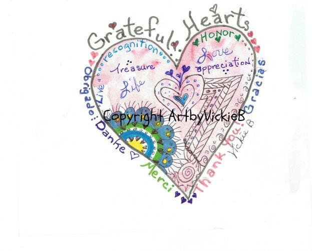 Grateful Hearts watercolor & pen & ink