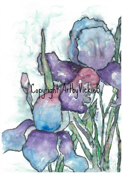 Iris in Spring in Watercolor