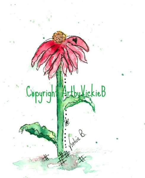 Pink Coneflower Watercolor with pen & ink