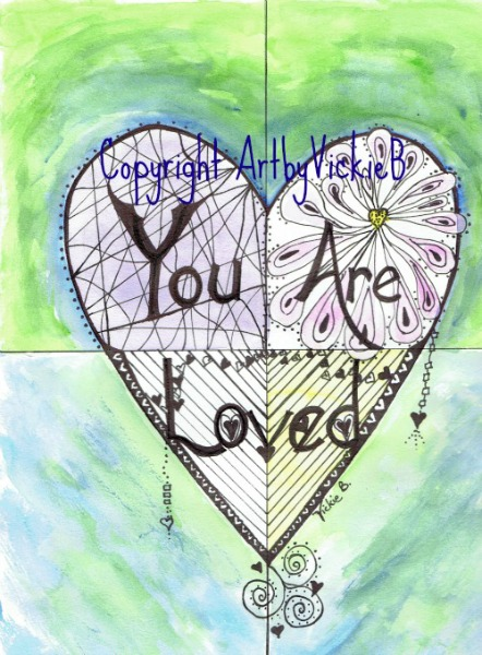 You Are Loved HeartWishes watercolor with pen & ink