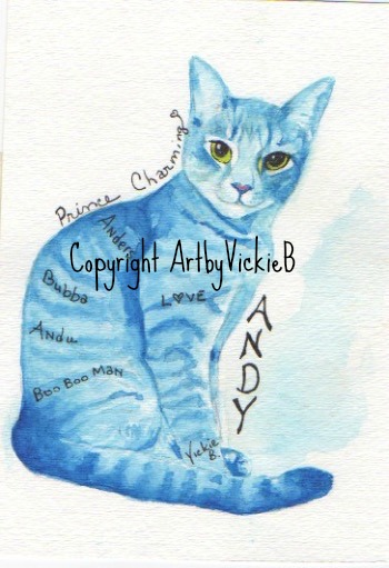 Andi Cat Commission piece watercolor with pen & ink SOLD