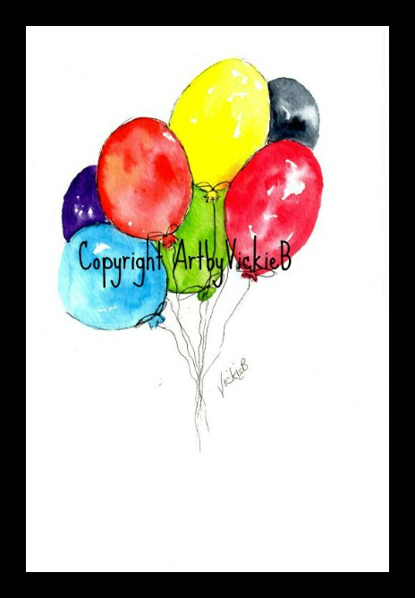 Birthday Balloons in watercolor