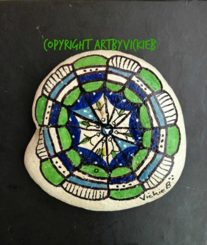 Painted Rock Green & Blue Mandala