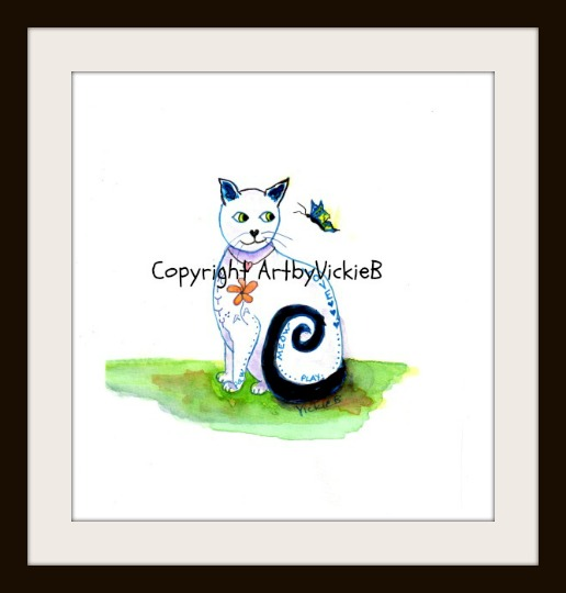 SOLD commission White Butterfly Love Cat Nov 2014 cropped RESIZED SMALLER with Museum Frame wm