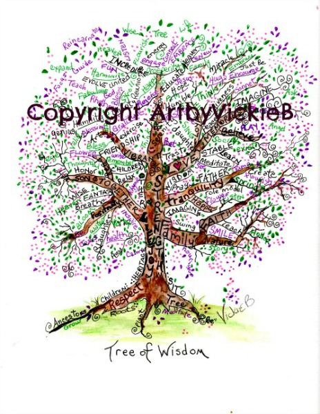 Tree of Wisdom Watercolor with pen & ink