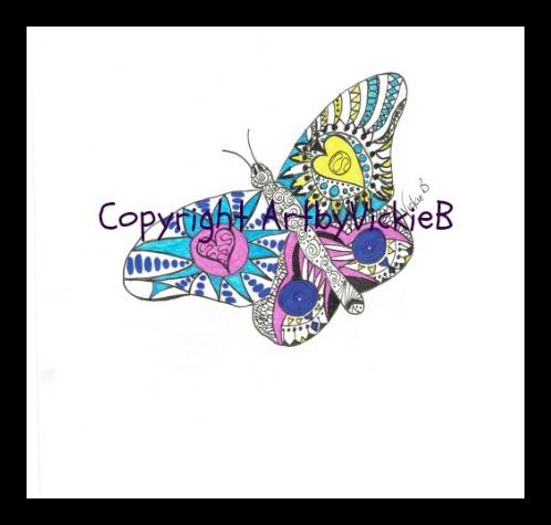 Zentangle Butterfly ORGINAL SOLD pen & ink