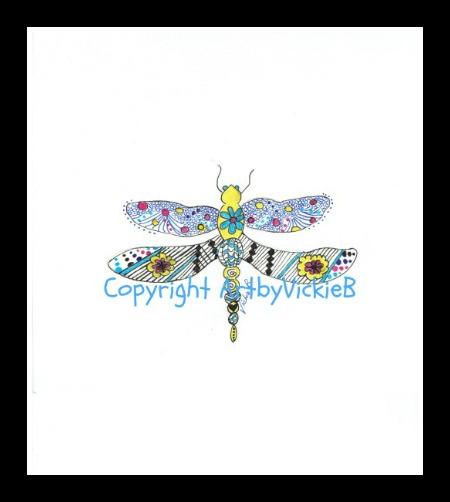 Zentangle Dragonfly in pen & ink
