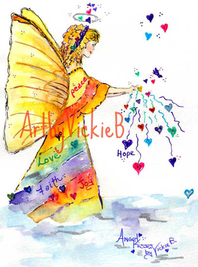 Angel with Golden wings sharing Heart Wishes