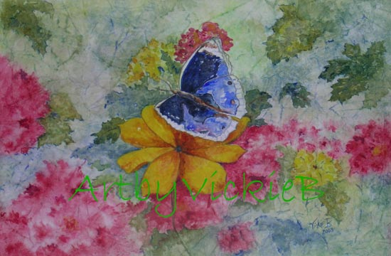 Blue Butterfly on rice paper