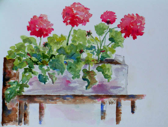 Red Geraniums on the Porch