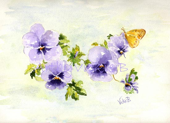 Pansies with Yellow Butterfly
