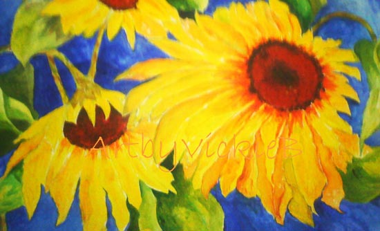 Bright Sunflowers in Acrylic