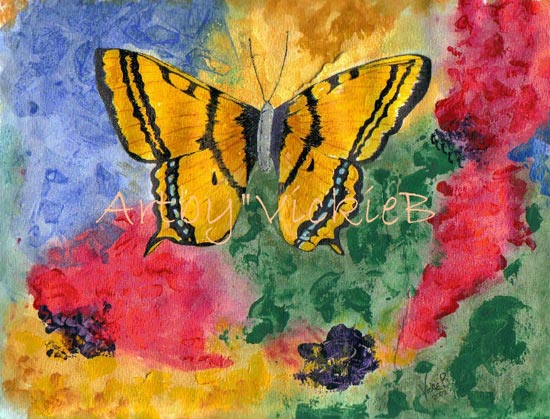 Bright Yellow Butterfly in Acrylics
